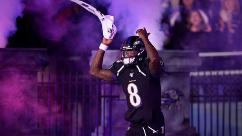 <p>               Baltimore Ravens quarterback Lamar Jackson is introduced onto the field prior to an NFL football game against the New York Jets, Thursday, Dec. 12, 2019, in Baltimore. (AP Photo/Nick Wass)             </p>