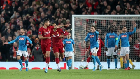 <p>               Liverpool's Dejan Lovren, second left, celebrates scoring his side's first goal during the Champions League Group E soccer match between Liverpool and Napoli at Anfield stadium in Liverpool, England, Wednesday, Nov. 27, 2019. (AP Photo/Jon Super)             </p>