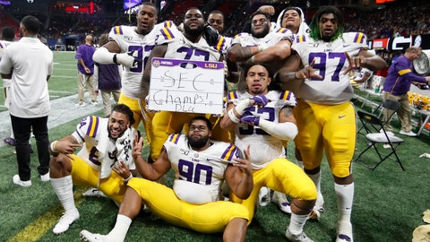 <p>               LSU players celebrate after the Southeastern Conference championship NCAA college football game against Georgia, Saturday, Dec. 7, 2019, in Atlanta. LSU won 37-10. (AP Photo/John Bazemore)             </p>