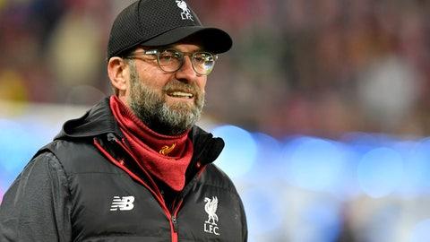 <p>               Liverpool's manager Jurgen Klopp smiles prior to the group E Champions League soccer match between Salzburg and Liverpool, in Salzburg, Austria, Tuesday, Dec. 10, 2019. (AP Photo/Kerstin Joensson)             </p>