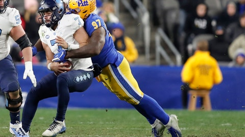 <p>               Pittsburgh defensive lineman Jaylen Twyman (97) sacks North Carolina quarterback Sam Howell (7) during the second half of an NCAA college football game Thursday, Nov. 14, 2019, in Pittsburgh. Pittsburgh won 34-27 in overtime. (AP Photo/Keith Srakocic)             </p>
