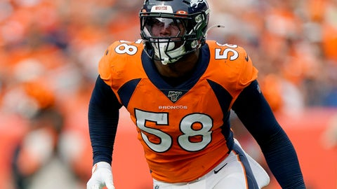 <p>               FILE - In this Sunday, Sept. 15, 2019 file photo, Denver Broncos outside linebacker Von Miller (58) lines up against the Chicago Bears during the second half of an NFL football game in Denver. Star linebacker Von Miller says his sprained left MCL that ended his 95-game starting streak might sideline him again Sunday, Dec. 8, 2019 when the Denver Broncos visit the Houston Texans. (AP Photo/Jack Dempsey, File)             </p>