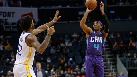 <p>               Charlotte Hornets guard Devonte' Graham (4) shoots over Golden State Warriors forward Marquese Chriss during the first half of an NBA basketball game in Charlotte, N.C., Wednesday, Dec. 4, 2019. (AP Photo/Nell Redmond)             </p>