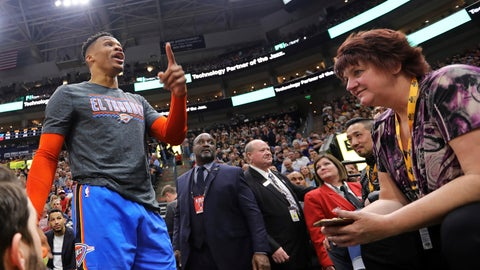 "<p>               FILE - In this March 11, 2019, file photo, Oklahoma City Thunder's Russell Westbrook gets into a heated verbal altercation with fans in the first half of an NBA basketball game against the Utah Jazz, in Salt Lake City. A Utah Jazz fan who was banned for life from Vivint Smart Home Arena after allegedly yelling what Russell Westbrook claimed were ""racial"" and ""inappropriate"" remarks at him, has sued the Houston Rockets player and the Jazz, saying he was wrongly accused. The lawsuit, filed Monday, Dec. 16, 2019, in 4th District Court in Utah County on behalf of Shane Keisel and his girlfriend Jennifer Huff, seeks $100 million in compensatory and punitive damages, alleging defamation and infliction of emotional distress. (AP Photo/Rick Bowmer, File)             </p>"