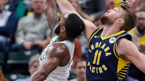 <p>               Boston Celtics guard Brad Wanamaker (9) is fouled by Indiana Pacers forward Domantas Sabonis (11) as he shoots during the first half of an NBA basketball game in Indianapolis, Wednesday, Dec. 11, 2019. (AP Photo/Michael Conroy)             </p>