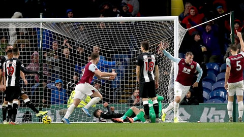 <p>               Burnley's Chris Wood, 2nd right, celebrates scoring his side's first goal of the game against Newcastle United during their English Premier League soccer match at Turf Moor in Burnley, England,  Saturday Dec. 14, 2019. (Martin Rickett/PA via AP)             </p>