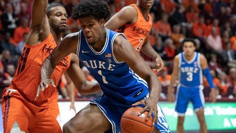 <p>               Duke center Vernon Carey Jr. (1) drives against Virginia Tech forward P.J. Horne, left, during the first half of an NCAA college basketball game Friday, Dec. 6, 2019, in Blacksburg, Va. (AP Photo/Don Petersen)             </p>