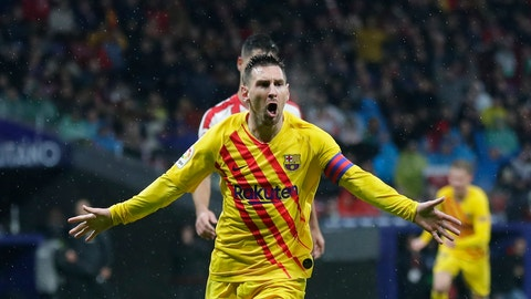 <p>               FC Barcelona's Lionel Messi celebrates after scoring his opening goal during a Spanish La Liga soccer match between Atletico Madrid and FC Barcelona at Wanda Metropolitano stadium in Madrid, Spain, Sunday, Dec. 1, 2019. (AP Photo/Manu Fernandez)             </p>