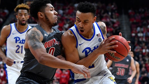 <p>               Pittsburgh guard Trey McGowens (2) attempts to drive through the defense of Louisville guard Lamarr Kimble (0) during the first half of an NCAA college basketball game in Louisville, Ky., Friday, Dec. 6, 2019. (AP Photo/Timothy D. Easley)             </p>