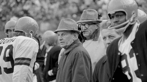 <p>               FILE - In this Nov. 7, 1971, file photo, Cincinnati Bengals coach Paul Brown, center, watches during the first quarter of an NFL football game against the Atlanta Falcons in Cincinnati, Ohio.  The Cincinnati Bengals' 14-10 victory over the Cleveland Browns on a snowy, November afternoon in 1970 put Brown's new team on equal footing with his old one and made Ohio truly a two-team pro football state. (AP Photo/Gene Smith, File)             </p>