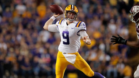 <p>               LSU quarterback Joe Burrow throws a pass during the second half of the team's NCAA college football game against Texas A&M in Baton Rouge, La., Saturday, Nov. 30, 2019. LSU won 50-7. (AP Photo/Gerald Herbert)             </p>