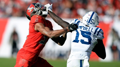 <p>               Indianapolis Colts wide receiver Parris Campbell (15) stiff arms Tampa Bay Buccaneers cornerback Carlton Davis (33) after a catch during the second half of an NFL football game Sunday, Dec. 8, 2019, in Tampa, Fla. (AP Photo/Jason Behnken)             </p>
