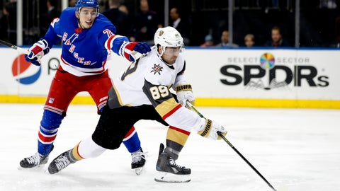 <p>               New York Rangers defenseman Brady Skjei (76) cannot stop Vegas Golden Knights right wing Alex Tuch (89) from shooting on goal during the first period of an NHL hockey game, Monday, Dec. 2, 2019, in New York. (AP Photo/Kathy Willens)             </p>