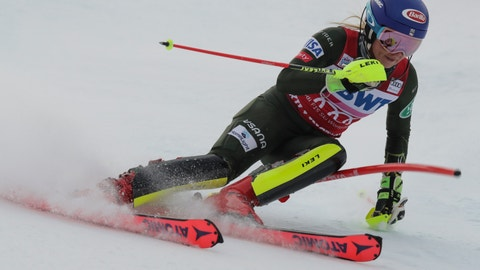 <p>               United States' Mikaela Shiffrin competes during an alpine ski, women's World Cup slalom in Killington, Vt., Sunday, Dec.1, 2019. (AP Photo/Charles Krupa)             </p>