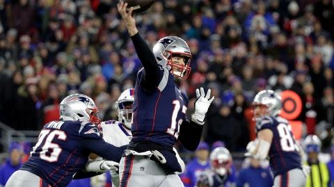 <p>               New England Patriots quarterback Tom Brady passes against the Buffalo Bills in the first half of an NFL football game, Saturday, Dec. 21, 2019, in Foxborough, Mass. (AP Photo/Elise Amendola)             </p>