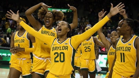 <p>               Baylor guard Juicy Landrum (20) reacts after their win over Arkansas State following an NCAA college basketball game, Wednesday, Dec. 18, 2019, in Waco, Texas. Landrum had 14, 3-point plays in the game. (Rod Aydelotte/Waco Tribune Herald, via AP)/Waco Tribune-Herald via AP)             </p>