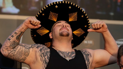 "<p>               Heavyweight boxer Andy Ruiz Jr. of Mexico poses during a weigh-in at Faisaliah Center, in Riyadh, Saudi Arabia, Friday, Dec. 6, 2019. The first ever heavyweight title fight in the Middle East, has been called the ""Clash on the Dunes."" Will take place at the Diriyah Arena on Saturday. (AP Photo/Hassan Ammar)             </p>"