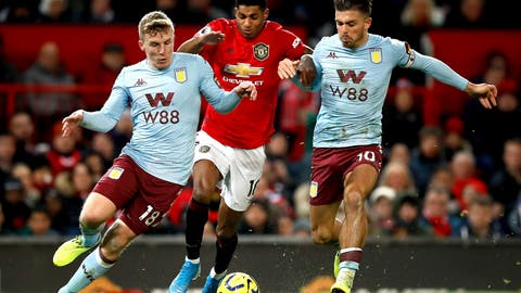 <p>               Manchester United's Marcus Rashford battles for the ball with Aston Villa's Matt Targett, left, and Jack Grealish during the English Premier League soccer match at Old Trafford, Manchester, England, Sunday Dec. 1, 2019. (Martin Rickett/PA via AP)             </p>