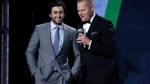 <p>               NASCAR driver Chase Elliott, left, is interviewed after being named the most popular driver at the NASCAR Cup Series Awards Thursday, Dec. 5, 2019, in Nashville, Tenn. (AP Photo/Mark Humphrey)             </p>
