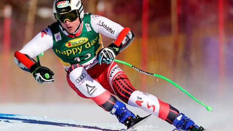 <p>               Hannes Reichelt, of Austria, skis down the course during the men's World Cup super-G ski race in Lake Louise, Alberta, Sunday, Dec. 1, 2019. (Frank Gunn/The Canadian Press via AP)             </p>
