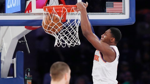 <p>               New York Knicks forward RJ Barrett, right, dunks in front of Atlanta Hawks center Alex Len, lower left, during the first half of an NBA basketball game in New York, Tuesday, Dec. 17, 2019. (AP Photo/Kathy Willens)             </p>
