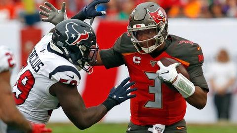 <p>               Houston Texans outside linebacker Whitney Mercilus (59) sacks Tampa Bay Buccaneers quarterback Jameis Winston (3) during the second half of an NFL football game Saturday, Dec. 21, 2019, in Tampa, Fla. (AP Photo/Mark LoMoglio)             </p>