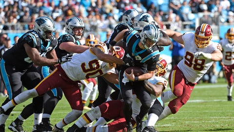 <p>               Washington Redskins linebacker Montez Sweat (90), defensive end Matthew Ioannidis (98) and defensive end Jonathan Allen chase Carolina Panthers quarterback Kyle Allen (7) during the first half of an NFL football game in Charlotte, N.C., Sunday, Dec. 1, 2019. (AP Photo/Mike McCarn)             </p>