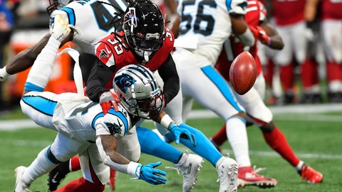<p>               Carolina Panthers wide receiver Greg Dortch (14) misses the ball against Atlanta Falcons defensive back Kemal Ishmael (36) during the second half of an NFL football game, Sunday, Dec. 8, 2019, in Atlanta. (AP Photo/John Amis)             </p>