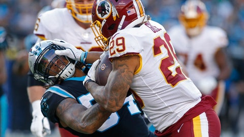 <p>               Washington Redskins running back Derrius Guice (29) runs against Carolina Panthers outside linebacker Shaq Thompson (54) during the second half of an NFL football game in Charlotte, N.C., Sunday, Dec. 1, 2019. (AP Photo/Brian Blanco)             </p>