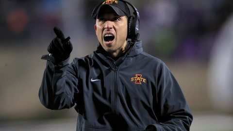<p>               Iowa State head coach Matt Campbell calls a timeout during the first half of an NCAA college football game against Kansas State in Manhattan, Kan., Saturday, Nov. 30, 2019. (AP Photo/Orlin Wagner)             </p>