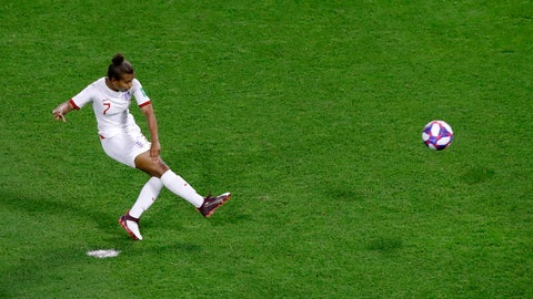 <p>               FILE  - In this Thursday, June 27, 2019 file photo, England's Nikita Parris kicks the ball from penalty during the Women's World Cup quarterfinal soccer match between Norway and England at the Oceane stadium in Le Havre, France. As Nikita Parris reflects on a transformative year for English women's football, not ending 2019 as a world champion still hurts. It's even harder to banish that lingering sense of disappointment when the scene of the World Cup semifinal loss to the United States is also her new home in France. (AP Photo/Michel Euler, File)             </p>