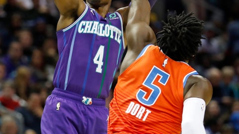 <p>               Charlotte Hornets' Devonte' Graham (4) aims his jumper as Oklahoma City Thunder's Luguentz Dort (5) defends during the first half of an NBA basketball game in Charlotte, N.C., Friday Dec. 27, 2019. (AP Photo/Bob Leverone)             </p>