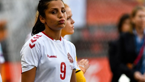 <p>               FILE - In this file photo dated Sunday, Aug. 6, 2017, Denmark's Nadia Nadim during the Women's Euro 2017 final soccer match against  Netherlands in Enschede, the Netherlands. Two decades after fleeing Afghanistan, the Paris Saint-Germain and Denmark striker Nadia Nadim is ready to go home, she tells The Associated Press Wednesday Dec. 4, 2019, that she will take a chance with her safety because the risks are worth it to inspire girls to follow her onto the soccer field. (AP Photo/Patrick Post, FILE)             </p>