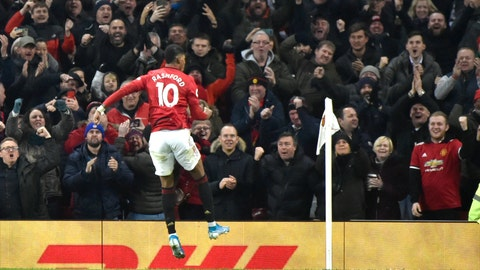<p>               Manchester United's Marcus Rashford celebrates after scoring his side's second goal during the English Premier League soccer match between Manchester United and Tottenham Hotspur at Old Trafford in Manchester, England, Wednesday, Dec. 4, 2019. (AP Photo/Rui Vieira)             </p>