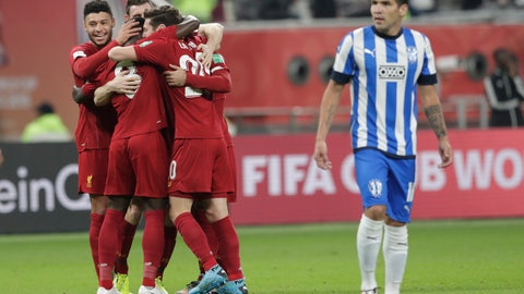 <p>               Liverpool's players celebrate after a goal during the Club World Cup semifinal soccer match between Liverpool and Monterrey at the Khalifa International Stadium in Doha, Qatar, Wednesday, Dec. 18, 2019. (AP Photo/Hassan Ammar)             </p>