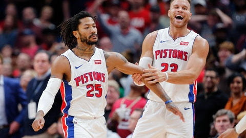 <p>               Detroit Pistons guard Derrick Rose (25) celebrates the game winning score with forward Blake Griffin (23) in the second half of an NBA basketball game in New Orleans, Monday, Dec. 9, 2019. (AP Photo/Brett Duke)             </p>