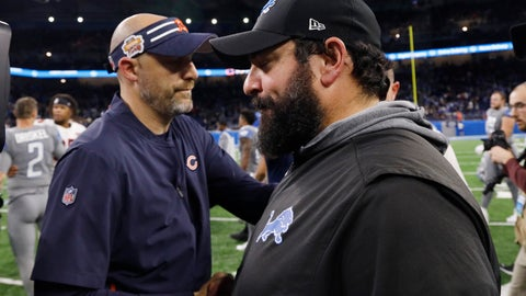<p>               Chicago Bears head coach Matt Nagy, left, meets with Detroit Lions head coach Matt Patricia after an NFL football game, Thursday, Nov. 28, 2019, in Detroit. (AP Photo/Rick Osentoski)             </p>