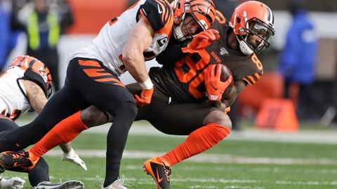 <p>               Cincinnati Bengals defensive back Clayton Fejedelem (42) tackles Cleveland Browns wide receiver Jarvis Landry (80) during the first half of an NFL football game, Sunday, Dec. 8, 2019, in Cleveland. (AP Photo/Ron Schwane)             </p>