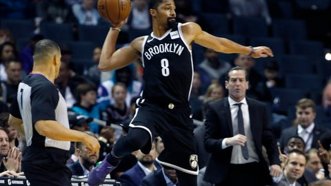 <p>               Brooklyn Nets' Spencer Dinwiddie (8) looks for a teammate to pass the ball to as he goes out of bounds during the first half of an NBA basketball game against the Charlotte Hornets in Charlotte, N.C., Friday, Dec. 6, 2019. (AP Photo/Bob Leverone)             </p>