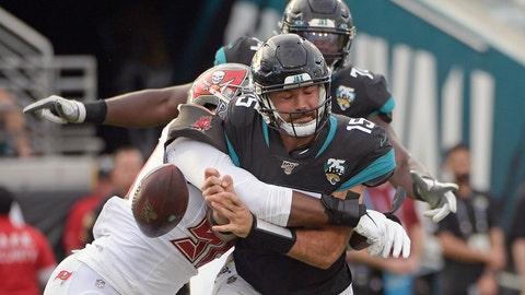 <p>               Tampa Bay Buccaneers linebacker Sam Acho, left, forces a fumble as he sacks Jacksonville Jaguars quarterback Gardner Minshew (15) during the second half of an NFL football game, Sunday, Dec. 1, 2019, in Jacksonville, Fla. (AP Photo/Phelan M. Ebenhack)             </p>