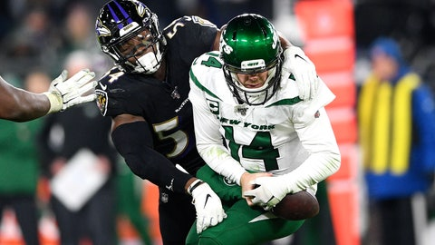 <p>               Baltimore Ravens linebacker Tyus Bowser, left, forces a fumble off New York Jets quarterback Sam Darnold during the second half of an NFL football game, Thursday, Dec. 12, 2019, in Baltimore. (AP Photo/Nick Wass)             </p>