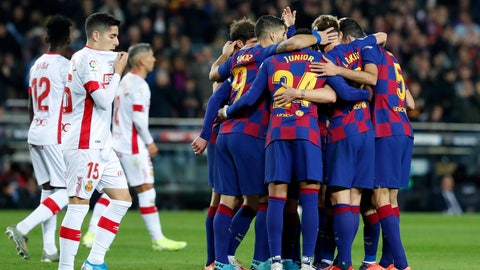 <p>               Barcelona players celebrate their second goal during a Spanish La Liga soccer match between Barcelona and Mallorca at Camp Nou stadium in Barcelona, Spain, Saturday, Dec. 7, 2019. (AP Photo/Joan Monfort)             </p>