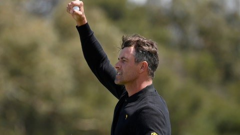 <p>               International team player Adam Scott of Australia celebrates a win over the U.S. during their fourball match at the Royal Melbourne Golf Club in the opening rounds of the President's Cup golf tournament in Melbourne, Thursday, Dec. 12, 2019. (AP Photo/Andy Brownbill)             </p>