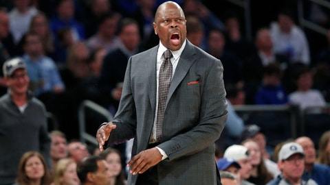 <p>               Georgetown coach Patrick Ewing reacts after a series of calls against the team during the second half of an NCAA college basketball game against Duke in the 2K Empire Classic, Friday, Nov. 22, 2019 in New York. Duke won 81-73. (AP Photo/Kathy Willens)             </p>
