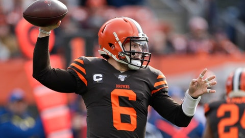 <p>               Cleveland Browns quarterback Baker Mayfield throws during the fist half of an NFL football game against the Cincinnati Bengals, Sunday, Dec. 8, 2019, in Cleveland. (AP Photo/Ron Schwane)             </p>