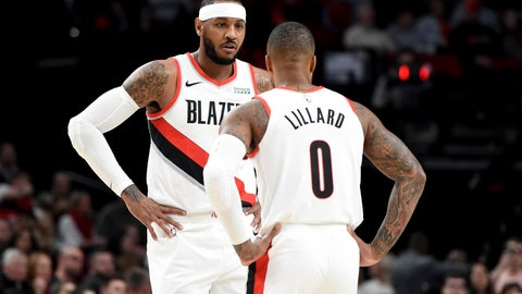 <p>               Portland Trail Blazers forward Carmelo Anthony, left, speaks with guard Damian Lillard, right, during a time out in the first half of an NBA basketball game against the Sacramento Kings in Portland, Ore., Wednesday, Dec. 4, 2019. (AP Photo/Steve Dykes)             </p>