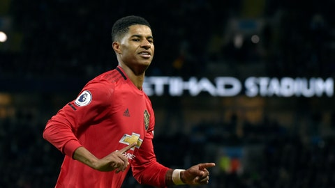 <p>               Manchester United's Marcus Rashford celebrates after scoring his side's opening goal from the penalty spot during the English Premier League soccer match between Manchester City and Manchester United at Etihad stadium in Manchester, England, Saturday, Dec. 7, 2019. (AP Photo/Rui Vieira)             </p>