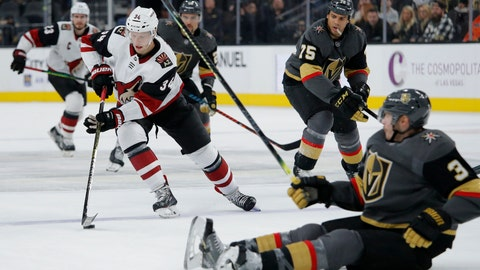 <p>               Arizona Coyotes center Carl Soderberg (34) skates around Vegas Golden Knights defenseman Brayden McNabb (3) during the first period of an NHL hockey game Friday, Nov. 29, 2019, in Las Vegas. (AP Photo/John Locher)             </p>