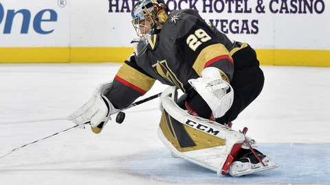 <p>               Vegas Golden Knights goaltender Marc-Andre Fleury defends against the Chicago Blackhawks during the first period of an NHL hockey game, Tuesday, Dec. 10, 2019, in Las Vegas. (AP Photo/David Becker)             </p>