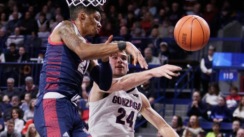 <p>               Detroit Mercy forward Chris Brandon, left, and Gonzaga forward Corey Kispert go after a rebound during the first half of an NCAA college basketball game in Spokane, Wash., Monday, Dec. 30, 2019. (AP Photo/Young Kwak)             </p>
